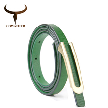 COWATHER High quality women belt cow leather belts alloy pin buckle female strap hot sale fashion style waistband original brand