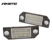 Vehemo 2Pcs 12V White 24 LED Car Number License Plate Light Lamp for Ford Focus C-MAX MK2
