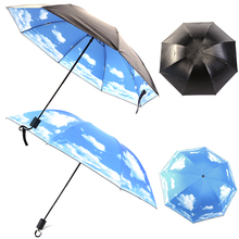 Black Coating Anti UV Sun Protection Umbrella Sky Cloud Pattern Parasol Umbrella Women Windproof Rain Folding Umbrella