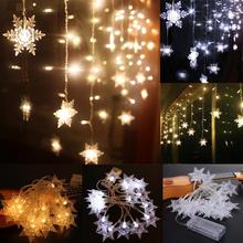 PROBE SHINY 2M 20 LED Snow Shape LED String Holiday Light Christmas Wedding Curtain lights Outdoor Activeties Decoration APJ(China)