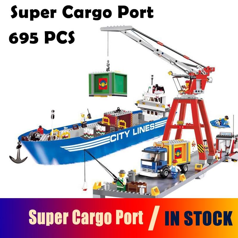Model Building Blocks toys 02034 695pcs Super Cargo Port Terminal Compatible with lego City Series 7994 toys &amp; hobbies<br>