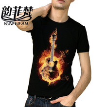 2016 Brand Clothing Slim T Shirt Men 100% Cotton Black metallica T-shirt Rock Guitar Print Summer Hip Hop T-shirt Tops Tee(China)
