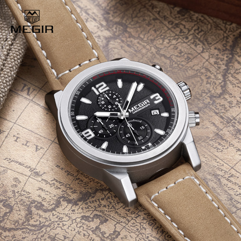 2016 Mens Watches Top Brand Luxury Waterproof Chronograph Watch Man Leather Sport Quartz Wrist Watch Clock Male orologio uomo<br>