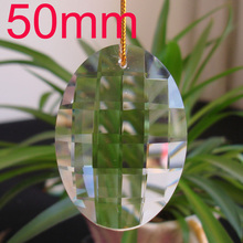 15pcs /lot 50mm Egg-shaped Chandelier Crystal Parts Hanging Crystal Drop Prism Lamp Part Suncatcher Free Shipping(China)