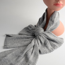 Helisopus Bow Grey Scarf Children Female Baby Child Cashmere Angora Knitted Fashion Color Scarves(China)