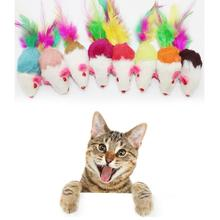 Pet Toy Furry Mouse Cat Kitten Real Fur Gravel Sounds Cute Toy Faux Mice Cat Toys Drop Shipping Free Shipping 2017d6(China)