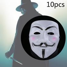 10x Cosplay Mask V For Vendetta Anonymous Movie Guy Fawkes Halloween Masquerade Party Face March Protest Costume Accessory