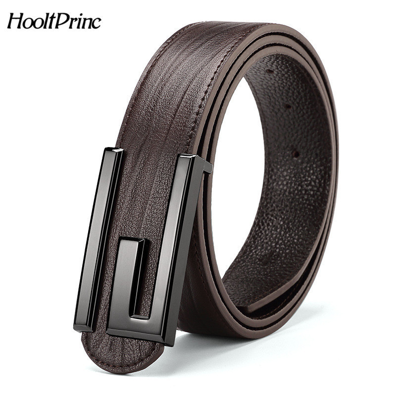 HooltPrinc 2017 New Brand Top Genuine Leather Men's Thin Belt Fashion Style Smooth Buckle Decorative Belts Men