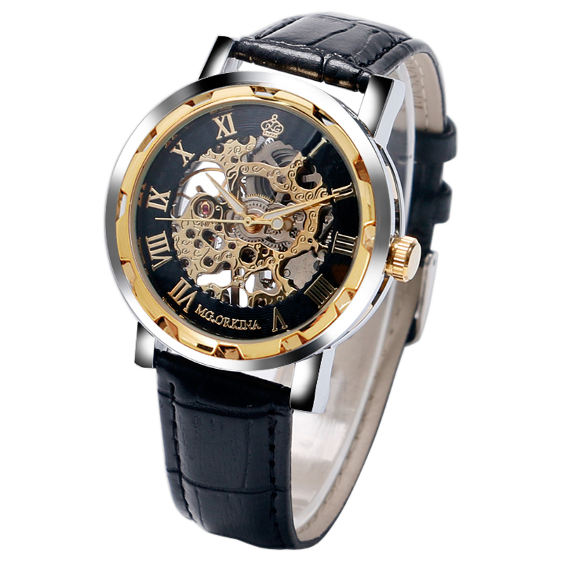Top Brand Luxury Orkina Skeleton Wrist Watch Men Mechanical Hand-Winding Cool Watches Casual Mens watch Genuine Leather Band<br><br>Aliexpress