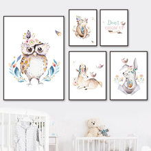 Watercolor Owl Rabbit Deer Bear Wall Art Canvas Painting Nordic Posters And Prints Animals Wall Pictures Baby Kids Room Decor(China)