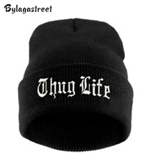 Hot Sell New Adult Winter Letter Thug Life Black Knit Cap Hip Hop Hat Bonnet Warm Men and Women Walking Beanie Hats Acrylic Bone(China)
