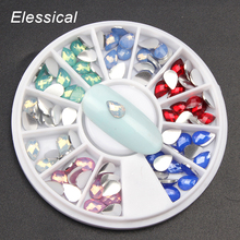 ELESSICAL 6 Colors Water Drop Opal Nail Rhinestones DIY Nail Art Accessories 3D Jewelry Decorations For Manicure In Wheel WY1105(China)
