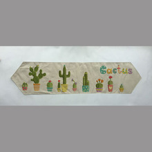 cactus style New fashion  table runner Mediterranean style home decoration 100% linen table flag anchors stripe table runner