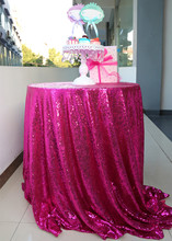 Custom Gorgeous 90'' Round Outdoor Fuchsia Sequins Tablecloth(China)