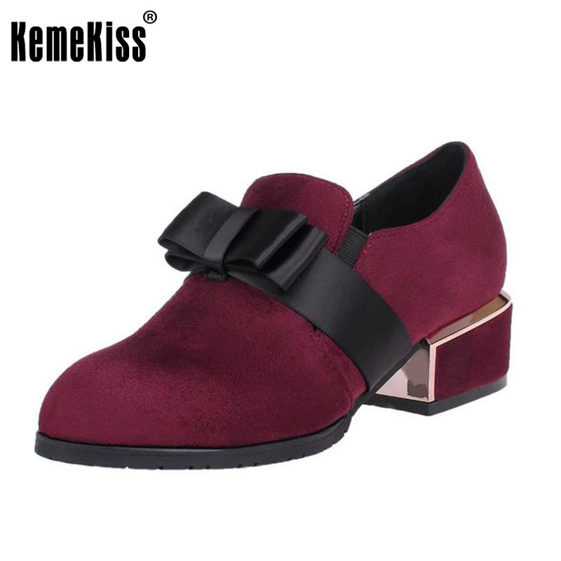 KemeKiss Size 33-42 Sexy Lady Thick Heels Pumps Bownot High Heels Shoes Women Pointed Toe Shoes Party Club Office Women Footwear<br>