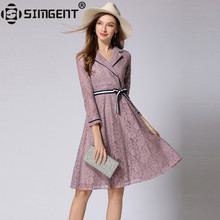 Buy Simgent New Spring Women Notched Collar Elegant Office Lady Knee Length Lace Dress Woman Clothing Robe Dentelle Vestidos SG81193 for $25.29 in AliExpress store
