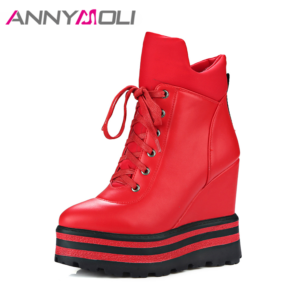 ANNYMOLI Women Ankle Boots Platform Wedge High Heels Warm Winter Boots Zip Female Autumn Boots Lady Shoes 2017 Chaussure Femme<br>