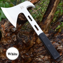 Double Axe Head Camping Ax Black White Stainless Steel Fixed Blade Chop Bone Hatchet Tomahawk Machete Military Hand Tools