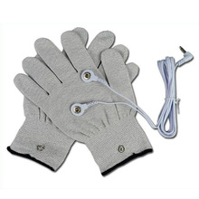 1 pairs Conductive Massage Gloves physiotherapy electrotherapy electrode Gloves+ 1pcs 2.5mm DC head cable(China)