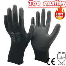 NMSAFETY 12 pairs Lightness comfortable black polyester/nylon cheap safety work gloves(China)