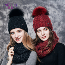 ENJOYFUR Women Winter Hat And Scarf Set Warm Cashmere Knitted Hat Scarf For Girls High Quality Fur Pompoms Hats Lady Beanies(China)