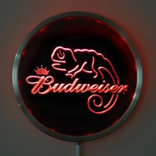 rs-a0084 Budweiser Lizard LED Neon Round Signs 25cm/ 10 Inch - Bar Sign with RGB Multi-Color Remote Wireless Control Function(China)