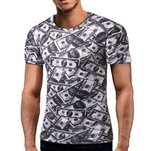 New Funny Men's t shirt 3D Dollar Print T-SHirt O neck Tops Fashion  2017 Summer Short Sleeve shirts Tops Tee Male Brand Clothes