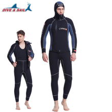 Double Warm Professional 5MM 2-Piece Neoprene Scuba Dive Wetsuit With Hood Zipper Split Spearfishing Wet Suit For Men Equipment