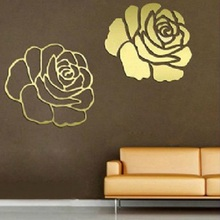 Luxury Flower Rose 3D Mirror Wall Stickers Art Acrylic Home Office Decoration DIY Craft Living Room Wall Decor Decal DIY D35M29