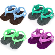 Sweet Colorful Baby Shoes Boy Girl Knit Crochet Handmade Casual Flip Flops Socks Shoes Green Blue Purple 0-12 Month 0052