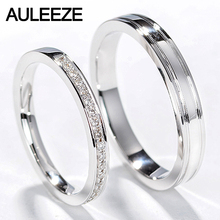 AULEEZE Classic Natural Diamond Couple Rings Men Women Wedding Ring 18k White Gold Engagement Ring Real Diamond Jewelry