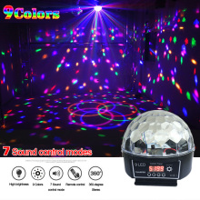 Crystal Magic Ball Led Stage Lamp 7 Sound Control Modes 9 Colors 27W Stage Lighting Disco Laser Light Party Lights Lumiere Laser(China)