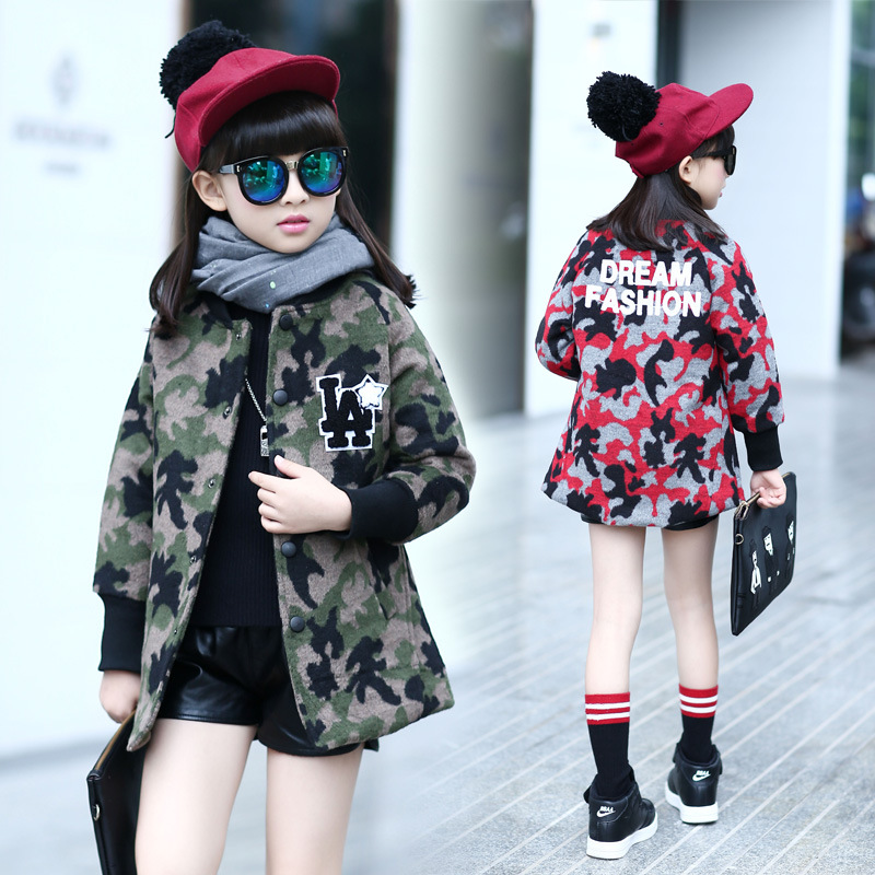 kids children outerwear clothing princess autumn winter 2017 coat girl kid red green camouflage jacket for big little girls tops<br><br>Aliexpress