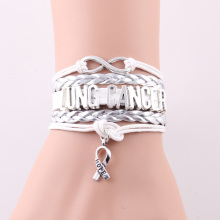 Little Minglou Infinity hope Charm lung cancer bracelet Awareness bracelets & bangles for men women leather jewelry