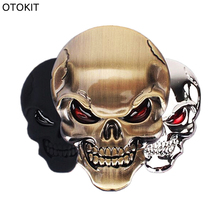 OTOKIT 1PC Zinc Alloy Devil Skull Car Stickers Decals Auto Bumper Stickers Car styling 3D Chrome Stickers Moto Motorcycle Decal(China)