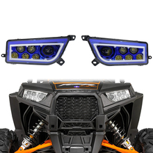 Hot sales Blue bezel ATV headlight 30w led ATV headlight led driving 12v Plug&Play with Blue DRL for 4x4 SUV Polaris Ranger