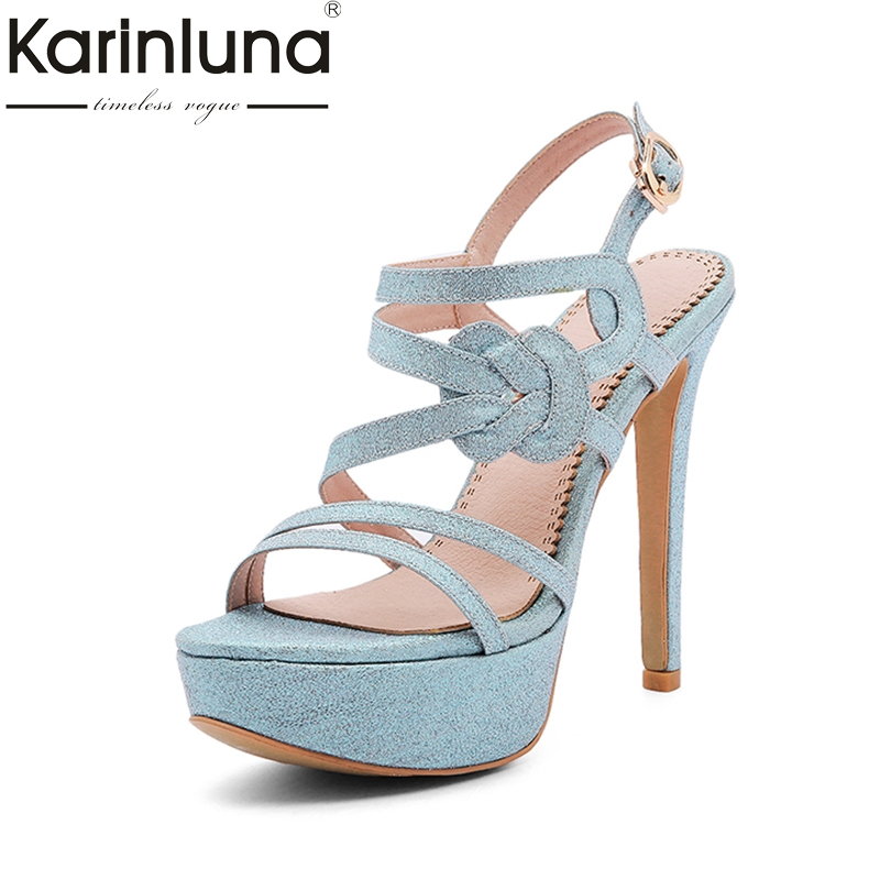 Karinluna 2018 Brand Shoes Woman Blue Pink Women Shoes Thin High Heels Platform Party Woman Footwear Wedding Sandals Shoes<br>