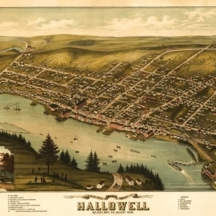 Vintage Map of Hallowell Maine 1878 Kennebec County Poster Print (36 x 54)