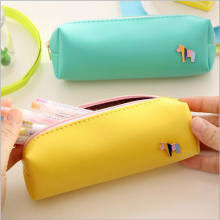 cartoon candy color little horse pencil case PU leather pencil bag stationery estojo escolar school supplies(China)