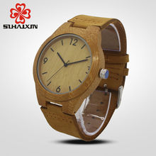 Hot Sale wood watch bamboo watches men genuine leather criativa luxury male clock man cheap wrist watch relogio masculino(China)