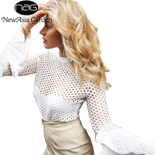 NewAsia Garden White Autumn Mesh Blouse Spring Stand Collar Flare Long Sleeve Fishnet Shirts Casual Elegant Summer Tops Blusas
