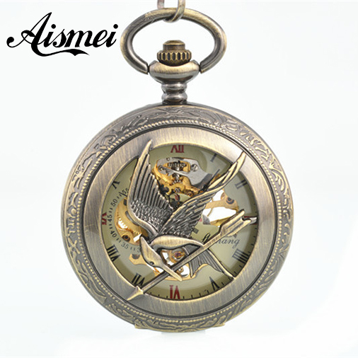 Classic Skeleton Hand Wind Mens Mechanical Pocket Watch Hollow Hungry Game Bird Bronze Tone Case Chain Nice Gift<br><br>Aliexpress