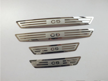 Free shipping For Car Styling Citroen C5 II 2008-2014 Door Sill Strip Scuff Plate Pedal Side Trim Car stickers Accessories 4pcs