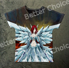 Track Ship+New Vintage Retro Fresh T-shirt Top Tee Fairy Tail Plump Girl Erza Scarlet Soldier White Wings 1047