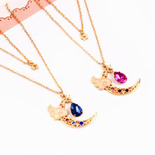 Fashion accessories color lilac Angel wings glass chain clavicle love Ms necklace beautiful gift