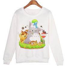New Fashion Women Hooded Cartoon Totoro And Cat Print Hoodies Female Long Sleeve Jumper White Sweatshirt Ladies