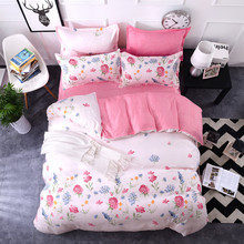 Romantic pink white flower bedding sets girls twin full queen king size single double bedspread pillow shams quilt duvet cover