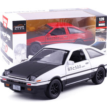 New INITIAL D Toyota AE86 1:28 car model Anime Cartoon Fast & Furious alloy pull back sound light boy simulation Tofu Gift Box
