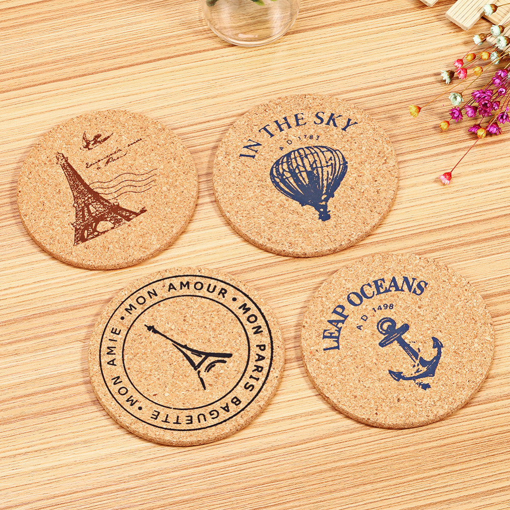 4 pcs/Set Retro Style Cork Drink Coaster Coffee Cup Mat Tea Pad Placemat Table Decor(China)