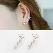 1 Piece Silver Plated Stars Element AAA Cubic Zircon imitation Pearl Earrings Ear Hook For Women Girl Stud Earrings Jewelry(China)